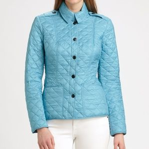 Burberry brit quilted turquois jacket small